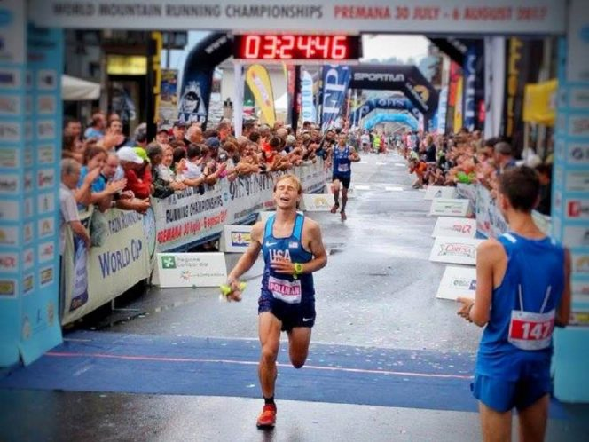 2017 Tayte crosses the finish line in third-place at the 2017 World Long Distance Mountain Running Championships