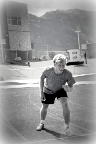 2014 As a high school senior, Tayte trains on the Brighton HS track in his hometown of Sandy, Utah